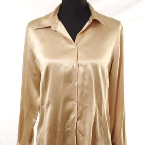 Talbots Petites Pure Silk Shimmery Gold Button Up